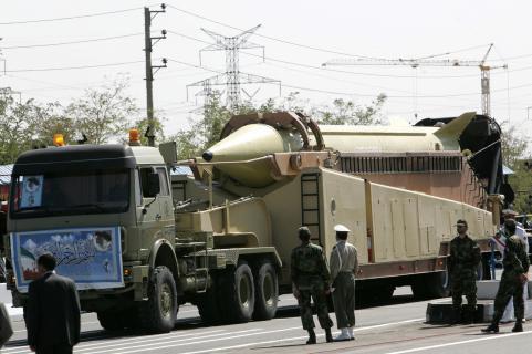 A military truck carries a long-range Ir